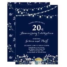 20th wedding anniversary ideas navy gold 20th wedding anniversary invitation anniversary