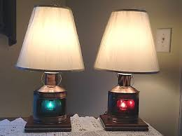 Nautical Table Lamps Nautical Decor Port Starboard Table Lamps Coastal Beach Accents
