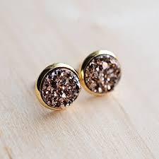 druzy stud earrings gold druzy stud earrings handmade