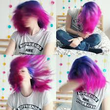 hair gradient with crazy color u0027s cyclamen violette and capri blue