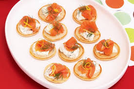 bellini canape blini with salmon and mascarpone