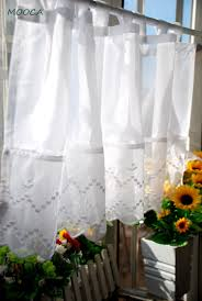 White Tab Top Curtains Korean Style Embroidered White Kitchen Curtain Tab Top White