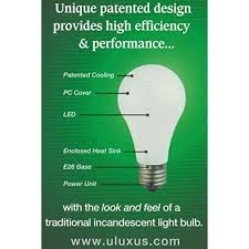 four 4x uluxus 6 watt a19 led dimmable light bulbs 2700k warm