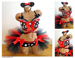 minnie and mickey mouse halloween costumes for adults minnie mouse rave rave bra half tutu shorts minnie