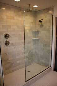 cool glass doorless shower design decor with brick soft wall color