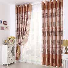Orange And Brown Curtains Orange Patterned Print Poly Cotton Blend Vintage Curtains For