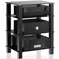 tv stands audio cabinets 4 tier black glass media component stand audio rack tempered glass