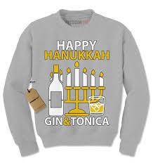 happy hanukkah sweater happy hanukkah gin and tonica adam sandler crewneck sweatshirt