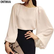 white blouses 2017 white blouse blusa chiffon office shirt puff