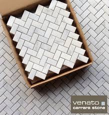 Marble Mosaic Tile Carrara Venato Herringbone Marble Mosaic Tile The Builder Depot Blog