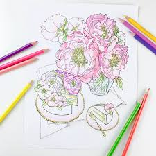 ranunculus flower coloring page for adults digital coloring