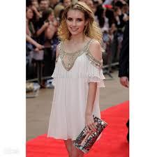 2017 fashion party dress women u0027s chiffon bead midi white dress new