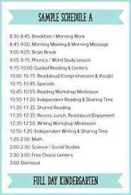 kindergarten schedules for day extended day and half day