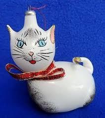 2 vintage italian cat mercury glass christmas ornaments