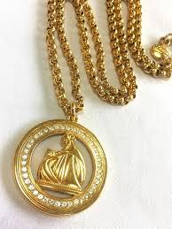 golden pendant necklace images Mint vintage lanvin golden chain necklace with large logo pendant jpg
