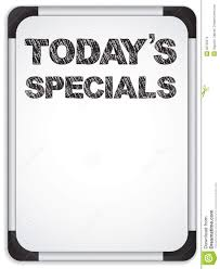 whiteboard with today u0027s specials message stock images image