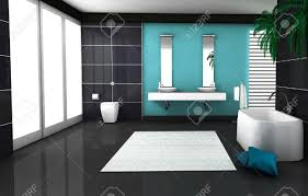 Contemporary Bathroom by Interior Of A Modern And Contemporary Bathroom Colored In Black