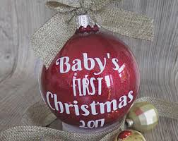Baby S First Christmas Bauble With Name by Memorial Bauble Personalised Bauble Feather Bauble In