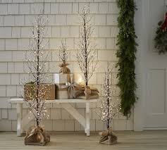 pre lit branches faux lit berry tree pottery barn