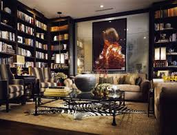 captivating modern home library with elegant shelving also plush