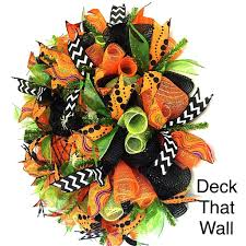 orange green black spider web mesh wreath u2013 deck that wall