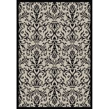 dynamic rugs piazza french indoor outdoor area rug sand black