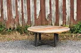Weathered Wood Coffee Table Buy A Hand Made Weathered Reclaimed Wood Round Coffee Table Made