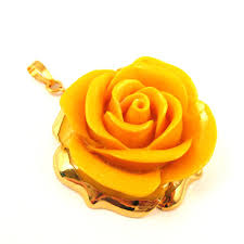 gold dipped large pendant carved resin with 24k gold plated