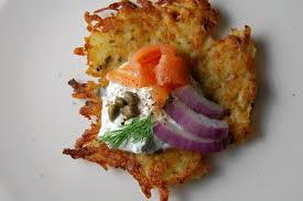 latke mix lox and latkes with capers dill and food and flight