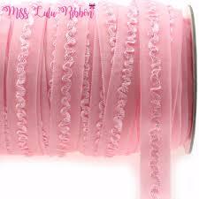 crochet elastic ribbon 5 8 16mm solid pearl pink ruffle fold elastic ribbon crochet
