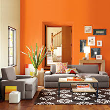 Grey And Orange Bedroom Ideas by Living Room Stunning Open Living Room Kitchen With Orange Wall