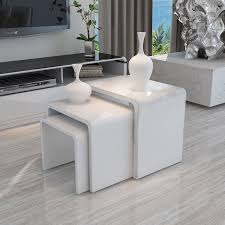 Gloss White Living Room Furniture Modern Design White High Gloss Nest Of 3 Coffee Table Side Table