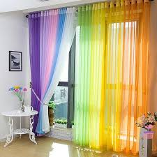Multi Color Curtains Multicolor Door Window Curtain Sheer Voile Divider Drape Panel