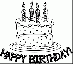 Outstanding Happy Birthday Cake Coloring Page With Birthday Birthday Cake Coloring Pages