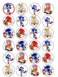 sonic the hedgehog cake topper 24 sonic cupcake toppers co uk kitchen home