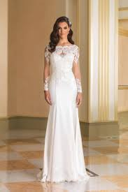 style 8864 beaded silk charmeuse bridal gown with lace sleeves