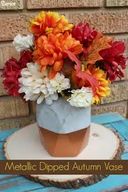 Fall Vase Ideas Diy Vase Decor Metallic Dipped Cement Fall Vase Darice