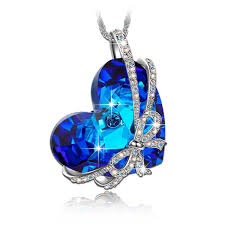 blue heart crystal necklace images Wholesale best sellersheart of the ocean blue crystal heart shape jpg