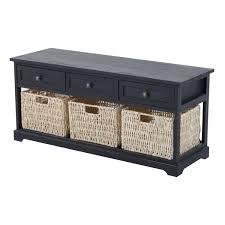 storage unit with wicker baskets shoe storage bench black wood cabinet table 3 wicker basket