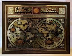 World Map Framed Used Vintage Mirror Map Framed Map World Map Know In Ws11 Chase