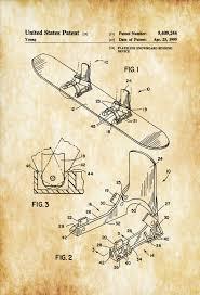 Cabin Decor Snowboard Patent Patent Print Wall Decor Ski Lodge Decor Ski