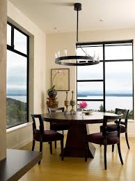 window sill dining room contemporary with chandelier flush