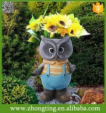 Cheap Small Flower Pots - garden figurines head planters cheap blue owl garden gnome flower