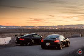 porsche cayman 2015 black sith twins porsche 911 gt3 rs and cayman gt4 on vossen wheels