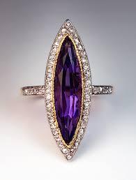 amethyst rings vintage images Navette shaped amethyst rose cut diamond ring antique jewelry jpg