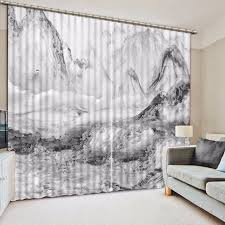 Gray And White Blackout Curtains Black And White Curtains 3d Mountain Marble Design Blackout