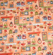 red country style cotton fabric raggedy ann and andy fabric