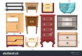 interior furniture set bedroom furniture bedside stock vector