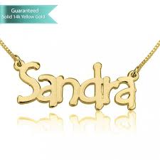 Personalized 14k Gold Name Necklace 14k Gold Tree Style Name Necklace Customizable Personalized Fine