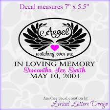 for wings in loving memory decal two color by